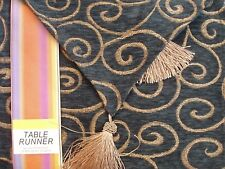 """GREEN Gold Tassel Embroidery Tapestry 12"""" x 72"""" Table Runner by Lace Dimensions"""