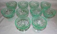 U.S. Glass Depression Era Floral & Diamond Band 10 Green Sherbets