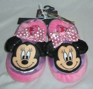 NWT Toddler Girls DISNEY MINNIE MOUSE Cushioned Slippers - size 7/8 9/10 11/12