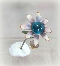 Dollhouse Miniature or Fairy Garden Blue Flower Gazing Ball Pick