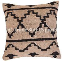 Vintage Hand Woven Kilim Cushion Cover 18x18 Jute Rug Kelim Pillow Cases 2 Pcs