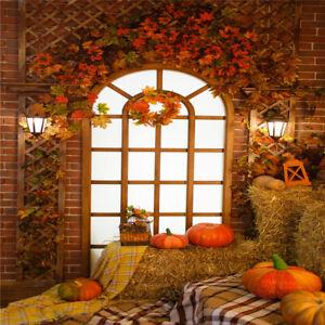 Autumn Barn Haystack Pumpkin Backdrop Thanksgiving Photo Background Studio Props