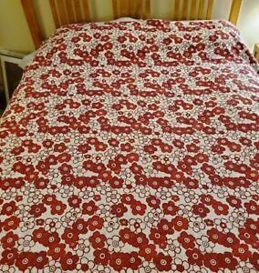 Ikea 100% Cotton Tanja Blommig Full/Queen Duvet - Red and White Flowers