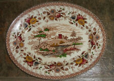Vintage RIDGWAY china WOODLAND brown/cream OVAL MEAT Serving PLATTER 14""