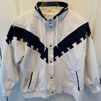 VTG Women's Plus Size 1X White Windbreaker Jacket Be In The Current Seen