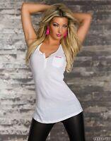 Canotta Top Lungo Donna Maglia T-shirt Lunga CALIFORNIA Bianco B502 Tg S L