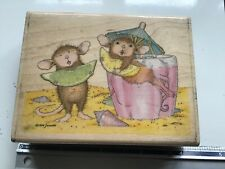 HOUSEMOUSE LEMON LIPS WOODEN BACKED RUBBER STAMP USED HOUSE MOUSE