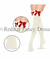 LADIES OVER THE KNEE SOCKS STOCKINGS THIGH HIGH RED WITH WHITE BOWS MRS CLAUS