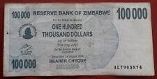 ZIMBABWE. BILLETE DE100.000 DOLLARS DEL 2007