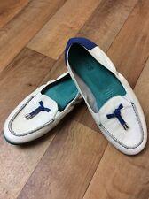 Diana Ferrari SUPERSOFT Loafer Size 10c Boat Shoe Leather White Blue Cruise