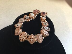 14k Rose Gold Diamond Slide Charm Bracelet / VERY RARE & UNIQUE!