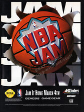 NBA JAM__Original 1994 print AD / game promo__Sega Genesis_Game Gear__basketball