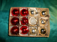 12 kleine antike Christbaumkugeln Glas Reflexkugel silber rot Weihnachtskugeln