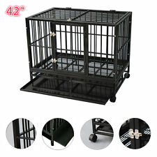 "42"" Heavy Duty Dog Crate Large Kennel Cage Metal Playpen W/Wheels & Tray"