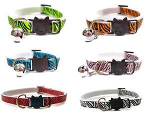 Cat Collars with Bell - Zebra Stripe   Pet Collars   Safe, Quick Release Buckle