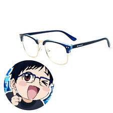 Yuri!!! on Ice Katsuki Yuuri Blue Half Frame Glasses Cosplay Acc With Lens Prop