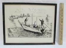 Asian Boat Ink Drawing Print Framed Signed MN Jan Oriental Seascape Vintage