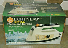 Vintage GE F201WH Light n Easy Steam Spray and Dry Iron Original Box NEW Unused