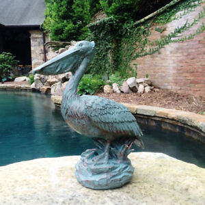 Pelican Statue Sculpture Garden Figure, Resin w/Bronze Patina Finish, Nautical