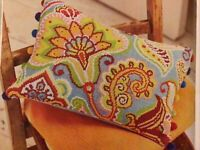 (H) Paisley Parade Bright Cushion Cover Cross Stitch Chart