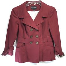 Banana Republic Short Trench Coat Burgundy Double Breasted 4