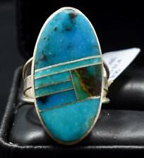 Navajo Handmade Multi-Turquoise Inlay Ring by Harold Smith