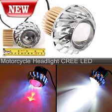 Hi/Lo Motorcycle Headlight LED Beam Lens Projector Lamp Angel Eye+Devil Eye
