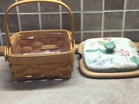 Longaberger 2001 Small Booking Basket W/ Protecter And A Tuck Wood Lid