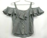 Veronica Beard Womens Grant Cold Shoulder Top V Neck Front Button Striped 12