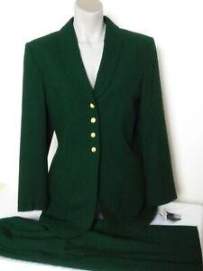 Kasper Skirt Suit Blazer Wool Green Womens Size 10 NWT
