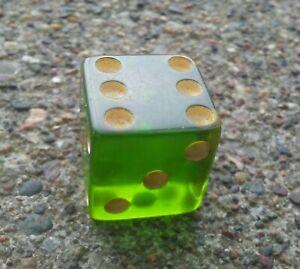 """Vintage Green Bakelite 5/8"""" Dice."""