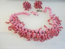 FABULOUS EARLY HASKELL POURED GLASS NECKLACE & EARRINGS PARURE