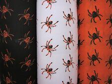 Halloween Fabric Per Metre Orange Black White Bats Pumpkin Spiders Spooky Scary