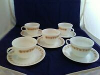 5 BUTTERFLY GOLD Coffee Tea Cups C Handle & saucers VTG Corning Corelle Pyrex