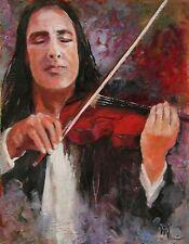 Red Violin Concert Music Instrument Virtuoso ORIGINAL OIL PAINTING Yary Dluhos