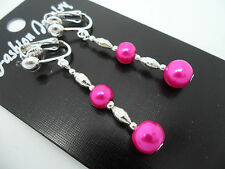 Silver Plated Dangly Clip On Earrings. New. A Pair Of Bright Pink Glass Pearl