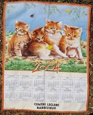 Vintage 1976 French Tea Towel Cute Kitties & Butterflies With Calendar Unused