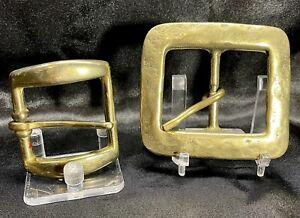 Vintage Solid Brass Belt Buckle Lot Of 2