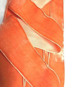 """Vintage 2"""" Velvet Ribbon Trim Rayon Orange Sorbet 1yd Made in France"""