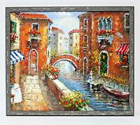 Venice Italy Gondola Scene 20 x 24 Art Oil Painting on Canvas w/Custom Frame