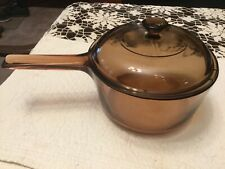 Vntg Corning Ware Visions Amber Glass Cookware 1.5 L Sauce Pot W/ Lid Clean Euc