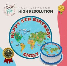 EDUCATIONAL MAP ROUND EDIBLE BIRTHDAY CAKE TOPPER DECORATION PERSONALISED
