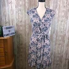 Glamour | Sz 4P Navy+Pink Padded Shoulder Floral Mini Dress w Matching Belt