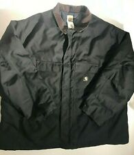 Vintage Carhartt Duck Canvas Black Brown Worker Chore Jacket Made in USA XXXXL