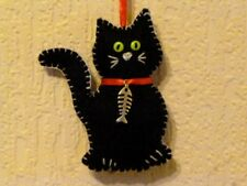 ***HAND MADE **1 X FELT BLACK CAT with FISHBONE COLLAR***HANGING  DECORATIONS