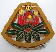 Weihnachtshänger Glocke beleuchtet mit Kerzengesteck Holz braun ca. 31 x 32 cm *