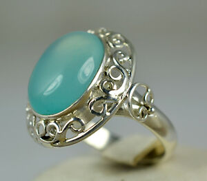 Chalcedony Silver Ring 925 Solid Sterling silver Handmade Jewelry Size 3 -13 US