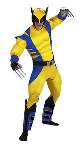 FANCY DRESS COSTUME ~ ADULT MENS MARVEL X-MEN DELUXE WOLVERINE OUTFIT