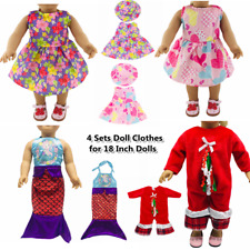 """Doll Clothes Accessories 4 Sets Doll Dress Hats for 18"""" Dolls Doll Outfits 65"""