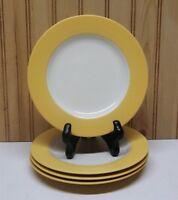 """(4) Noritake Stoneware Colorwave MUSTARD 8065Y ~ 8.25"""" Salad Plates Wide Rims"""